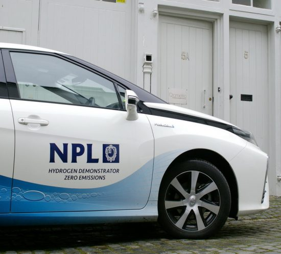 NPL Toyota Mirai Hydrogen powered car visits Qrometric in Hove.