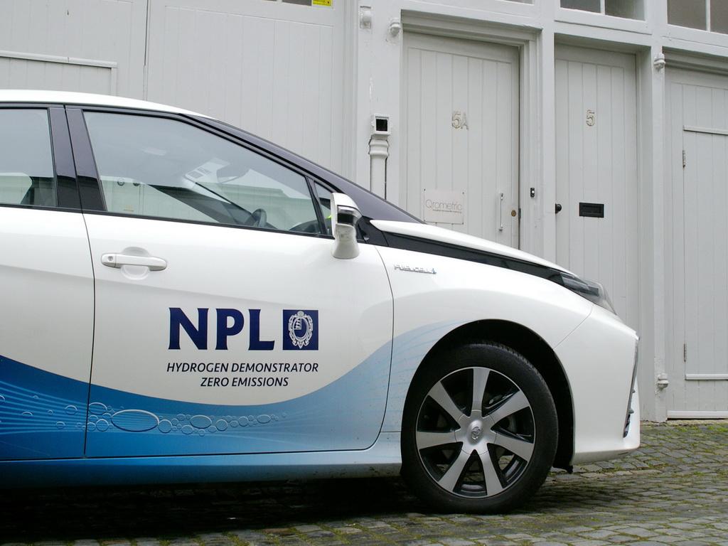 NPL Toyota Mirai Hydrogen powered car visits Qrometric in Hove.